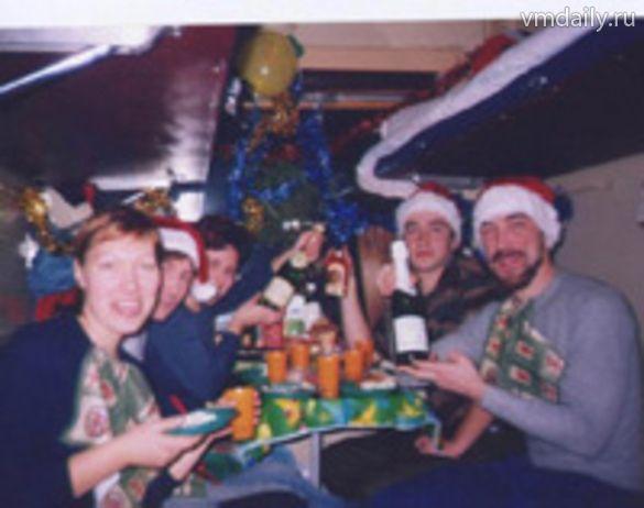 Празднование нового года в поезде