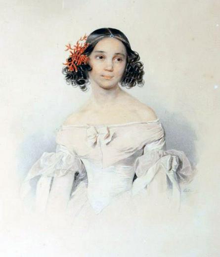 Дочь Федора Толстого Сарра, умершая в 17-летнем возрасте. Акварель П. Ф. Соколова / Wikipedia/Общественное достояние