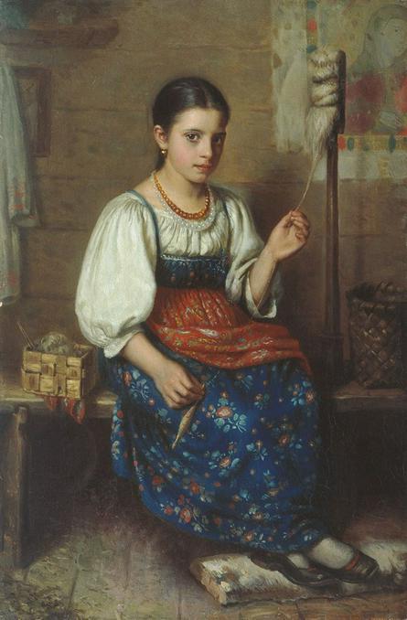 «Пряха», Николай Дубовской. Девушка явно зажиточная: одета в модный московский сарафан из многоцветной ткани / Wikipedia/Общественное достояние