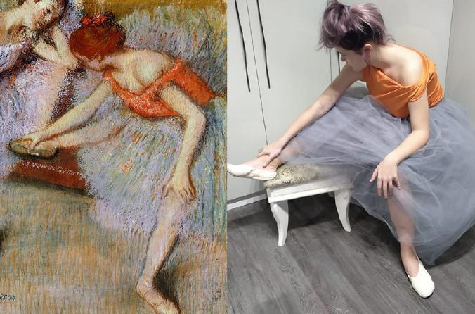 «Изоизоляция» подразумевает, что картину надо воспроизвести не в студии, а в обычной квартире и из подручных средств / Фрагмент картины «Танцовщицы» Э. Дега, фото из личного архива Ольги Толкачевой