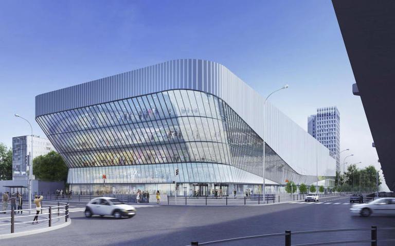 Дизайн-проект Щелковского автовокзала. Здание будет иметь пять подземных и шесть наземных этажей. Внутри обустроят торговые помещения, в том числе продуктовый супермаркет, кинотеатр с пятью залами, фуд-корт, помещения для работников, парковку на 957 машино-мест
