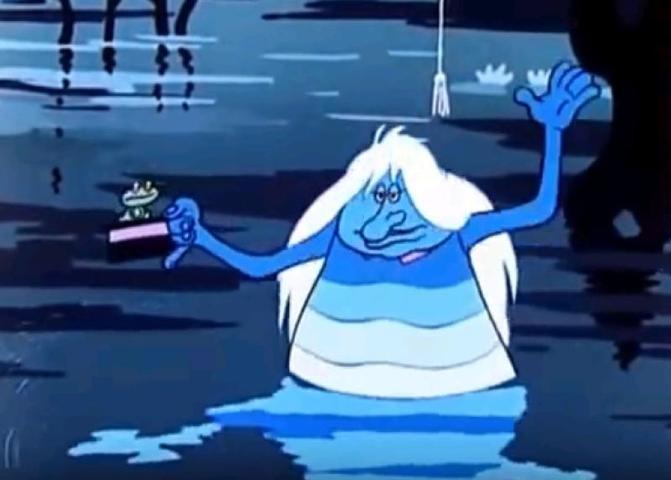 """Водяной чаще всего появляется там, где есть омуты, тенистые места и довольно много ряски / Скрин из YouTube """"Я водяной м/ф Летучий корабль"""""""
