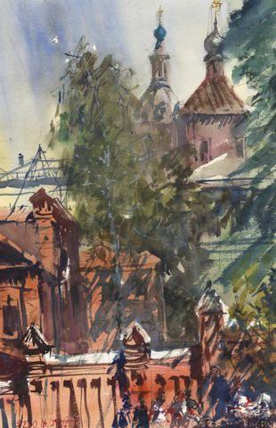 На своей акварели главный архитектор Москвы Сергей Кузнецов изобразил Андреевский монастырь / Из личного архива.