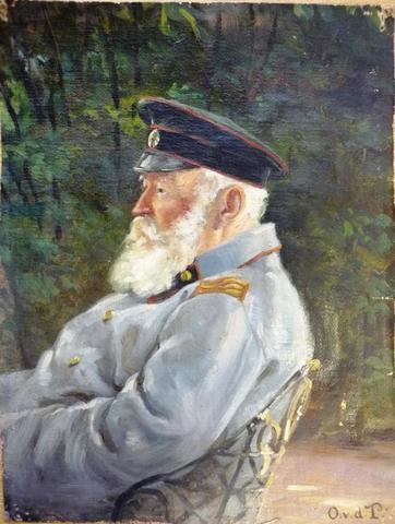 Этот портрет барона Дитриха фон дер Палена, полковника в отставке, написала масляными красками его вторая дочь Ольга Юлия