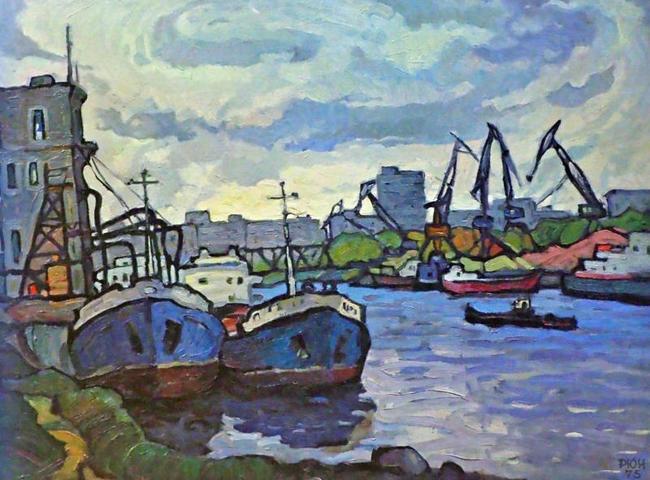 Работа художника Юрия Рогозина:Филевский порт, 1975 год