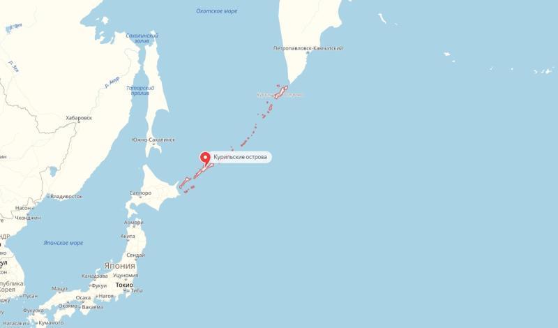"""Японская сторона хочет увязать подписание договора с передачей под контроль Токио южных Курильских островов / Скриншот с """"Яндекс.Карты"""""""