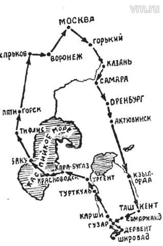 Карта маршрута. Была вывешена на стенде на площади Свердлова (ныне Театральной) / ИЗ ЛИЧНОГО АРХИВА