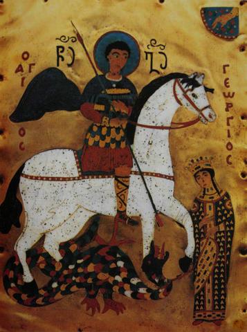 Святой Георгий, спасающий дочь императора (эмалевая миниатюра, Грузия, XV век) / Wikipedia / Общественное достояние