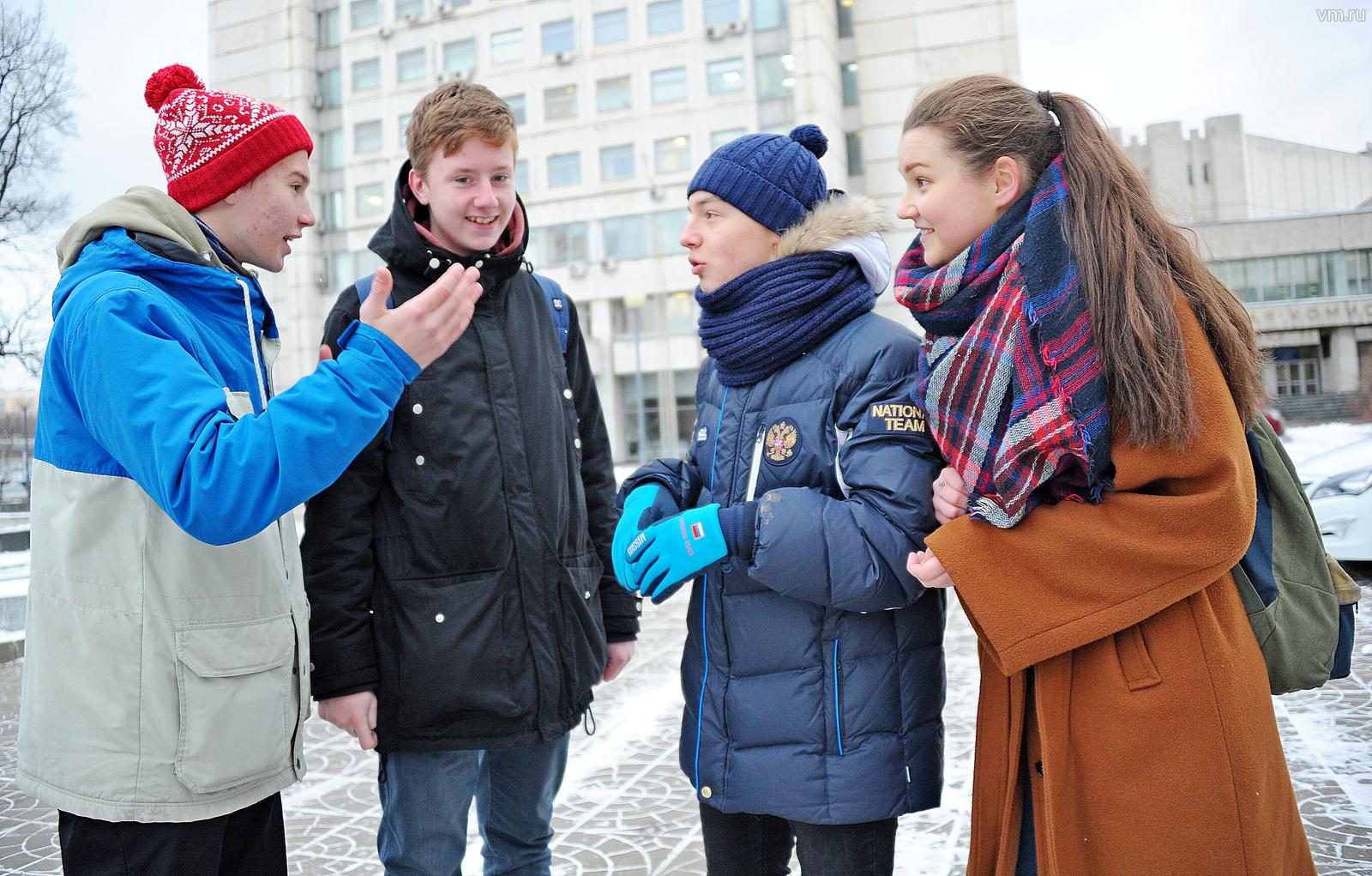 Ученики столичной школы № 2116 (слева направо) Федор Гурьев, Александр Шахов, Алексей Барышевский и Анна Андрусенко будут проектировать город будущего