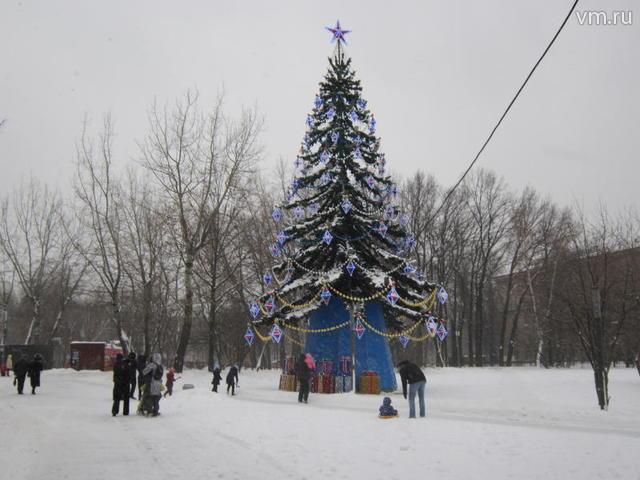 """Можно здесь увидеть и высокую сказочную ёлку – главнуюдостопримечательность парка, рядом с которой расположены подарки / Полина Муслимова, юнкор """"Вечерней Москвы"""""""
