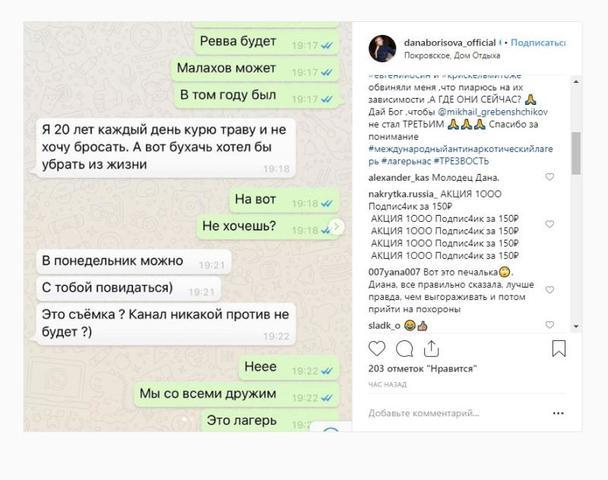 Переписка с Гребенщиковым / https://www.instagram.com/danaborisova_official/