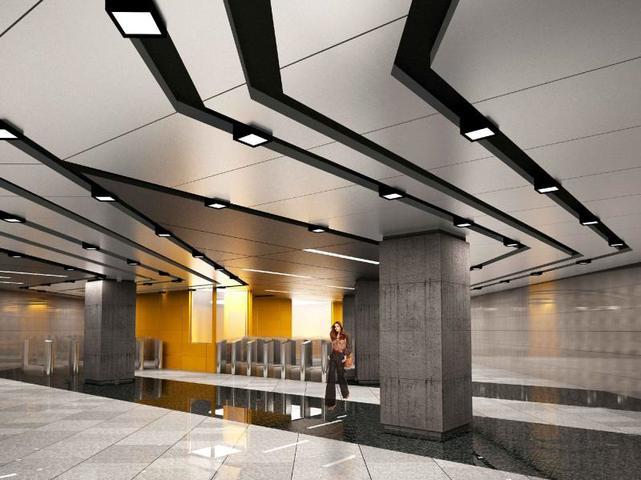 Подвесной потолок на станции будет выполнен из разных по форме и объему кубических элементов, в которые встроят светильники / пресс-служба Москомархитектуры