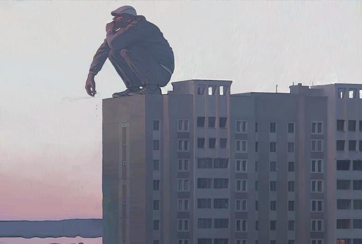 """""""Смотрящий""""— было бы здорово, если б в закатном свете на крыше многоэтажки сидела задумчивая и мрачная фигура / Работы Андрея Сурнова"""