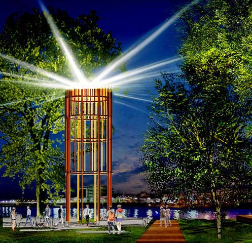 Проект архитектурно-художественной подсветки на набережной в Капотне. К монтажу конструкций уже приступили / https://stroi.mos.ru/