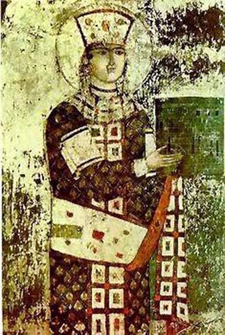Фреска XII века с изображением царицы Тамары из грузинского пещерного монастыря Вардзия / Фреска XII века
