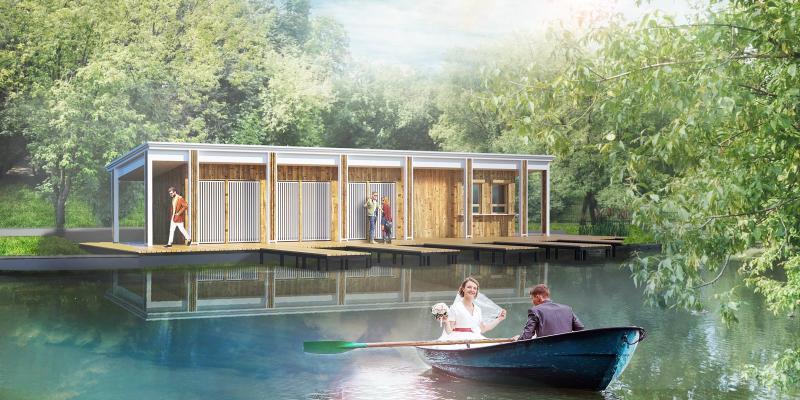 Так выглядит проект реконструкции лодочной станции, с которой смогут отправиться в свадебный павильон молодожены / mos.ru