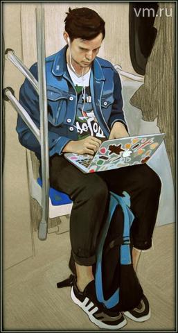 Для профессиональной художницы Анастасии Ермаковой рисунки, которые она делает в метро, — это отпечатки современности / Личный архив Анастасии Ермаковой
