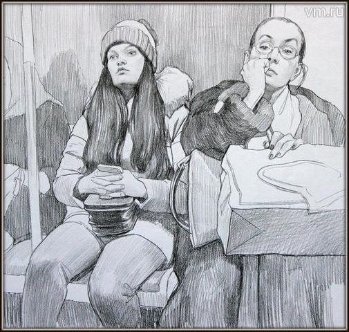 Люди в метро. Рисунок Анастасии Ермаковой / Личный архив Анастасии Ермаковой