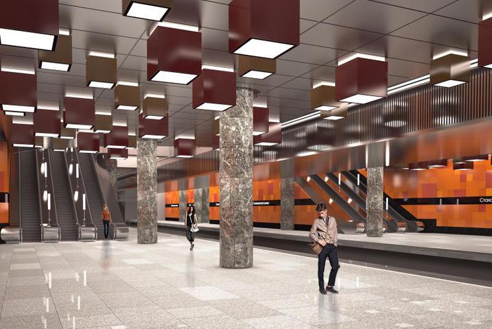 Для оформлениястанции «Стахановская» Некрасовской линии используют гранит и металл / Комплекс градостроительной политики и строительства Москвы