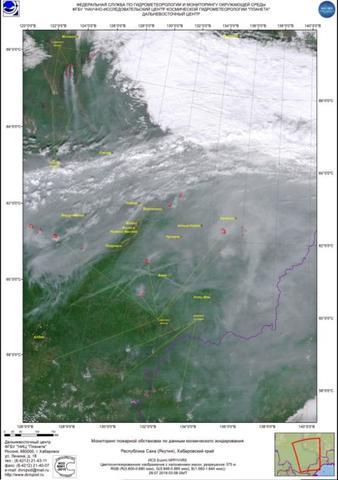 На кадрах видно, что основные очаги пожаров расположены в Красноярском крае, Иркутской области и Якутии / Научно-исследовательский центр космической гидрометеорологии «Планета»