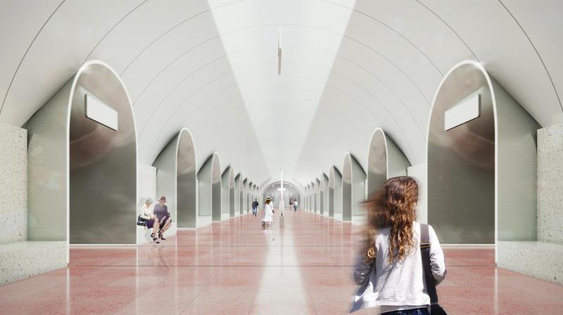 «Ржевская» — одна из шести станций северо-восточного участка Большого кольца метро. Она станет пересадочной с «Рижской» Калужско-Рижской ветки / Предоставлено Стройкомплексом города Москвы